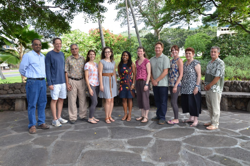 The East-West Center core Pacific RISA team hosted the project's team of Principal Investigators on Friday, July 17 to kick off the next phase of research under the renewed NOAA grant. Funding will begin on September 1, 2015. From left to right: Dr. H. Annamalai (UH IPRC), Dr. Tom Giambelluca (UH Geography), Dr. Aly El-Kadi (UH WRRC), project assistant Krista Jaspers (EWC), Dr. Victoria Keener (EWC), Maxine Burkett (UH Law School), Dr. Kirsten Oleson (UH NREM), Richard Wallsgrove (UH Law School, EWC, Blue Planet), Dr. Laura Brewington (EWC), Dr. Nancy Lewis (EWC), and Dr. John Marra (NOAA RCSD). (Image by Shayne Hasegawa, EWC)
