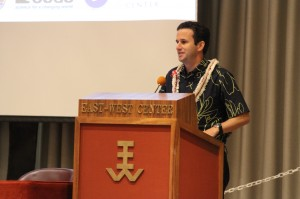 Hawai'i Lieutentant Governor Brian Schatz giving the opening remarks at the PIRCA Forum, Dec. 10, 2012