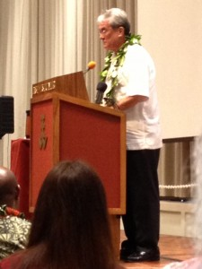 Tony deBrum, Minister in Assistance to the President of the Republic of the Marshall Islands, delivers the key not address at Waves of Change: Climate Change in the Pacific Islands and Implications for Hawai'i