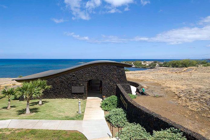 Figure 4: The Visitor Center at Pu'ukohala Heiau National Historic Site looking over Kawaihae Bay. Photo by Mason Architects.
