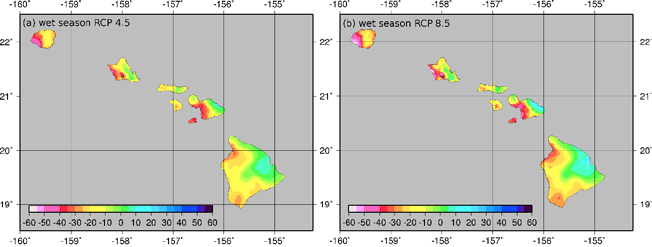 Interpolated maps of the statistically downscaled wet-season rainfall for scenarios RCP4.5 and RCP 8.5 for the period 2041–2071 (31-yr time-mean). Shown is the ensemble median result from 32-members from CMIP5. Units are in percent.